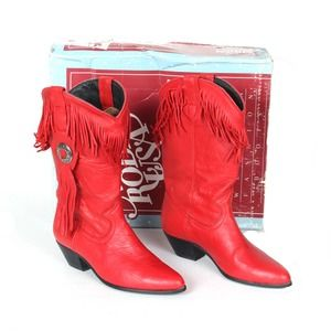 Vintage Acme Red Fringe Cowgirl Boots Sz 6